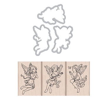 Hero Arts ANGEL TRIO Rubber Stamp and Die Combo SB216