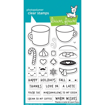 RESERVE Lawn Fawn THANKS A LATTE Clear Stamps LF1761