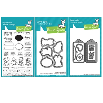 RESERVE Lawn Fawn SET SAY WHAT CHRISTMAS CRITTERS Clear Stamps and Dies BLFSWC