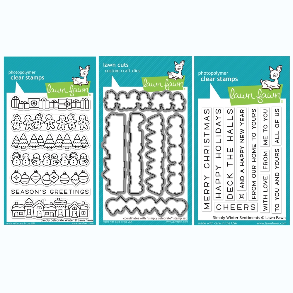 RESERVE Lawn Fawn SET SIMPLY CELEBRATE WINTER Clear Stamps and Dies BLFSCW zoom image