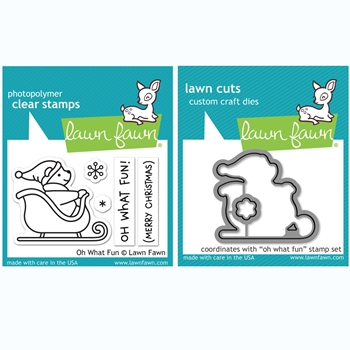 RESERVE Lawn Fawn SET OH WHAT FUN Clear Stamps and Dies BLFOWF