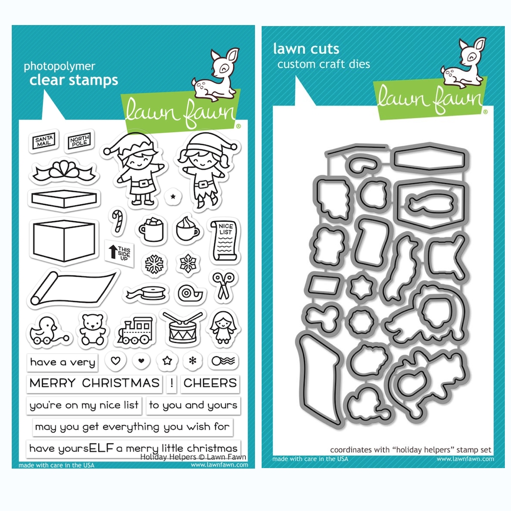 Lawn Fawn SET HOLIDAY HELPERS Clear Stamps and Dies BLFHH zoom image