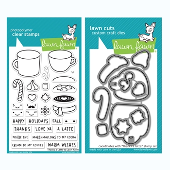 RESERVE Lawn Fawn SET THANKS A LATTE Clear Stamps and Dies BLFTAL
