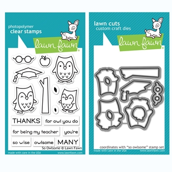 Lawn Fawn SET SO OWLSOME Clear Stamps and Dies BLFOO
