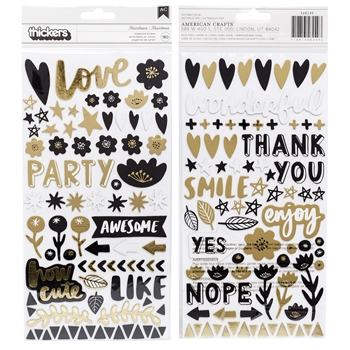 American Crafts Amy Tangerine MISCELLANEA PHRASE Gold Foil Thickers Shine On 348249