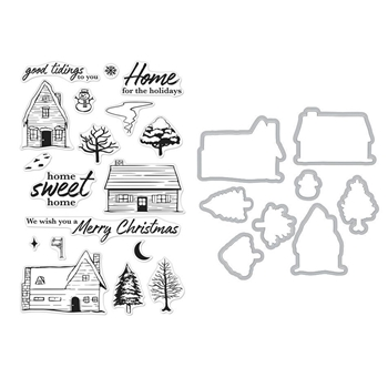 Hero Arts HOME FOR THE HOLIDAYS Clear Stamp and Die COMBO SB206