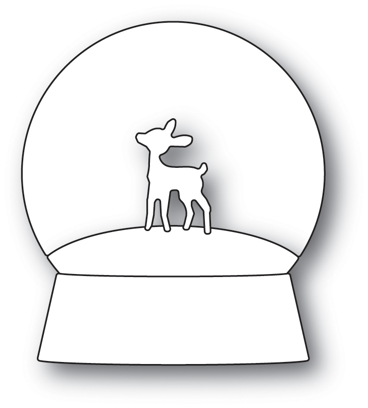 Memory Box PLAYFUL FAWN SNOWGLOBE POPPY STAMPS Craft Die 2090 zoom image
