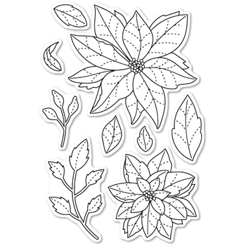 Memory Box Clear Stamps POINSETTIA DELIGHTS POPPY STAMPS cl466