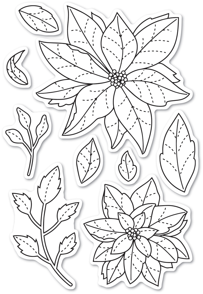 Memory Box Clear Stamps POINSETTIA DELIGHTS POPPY STAMPS cl466 zoom image