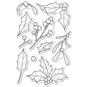 Memory Box Clear Stamps MISTLETOE AND HOLLY POPPY STAMPS cl468