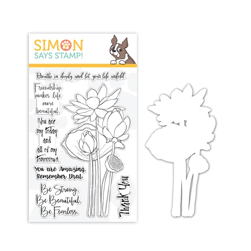 Simon's Exclusive Lotus Flowers Stamp and Die Set