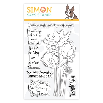 Simon Says Clear Stamps SKETCH LOTUS FLOWERS sss101867 Friendly Frolic
