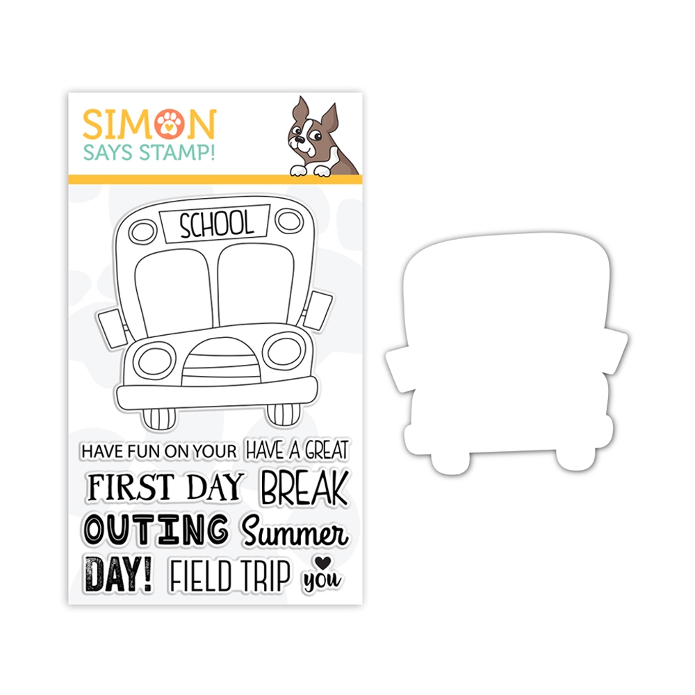 RESERVE Simon Says Stamps And Dies SCHOOL BUS MESSAGES set327sbm Friendly Frolic zoom image
