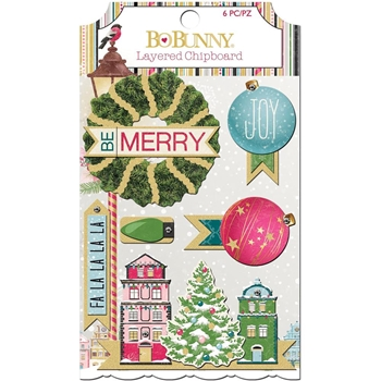 BoBunny CHRISTMAS IN THE VILLAGE Layered Chipboard 7310310