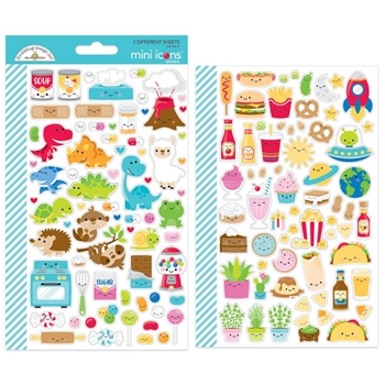 Doodlebug SO MUCH PUN MINI ICONS Cardstock Stickers 6057