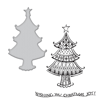 SDS-161 Spellbinders CHRISTMAS JOY Cling Stamp and Die Set