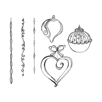 SBS-164 Spellbinders DANGLING ORNAMENTS Cling Stamps