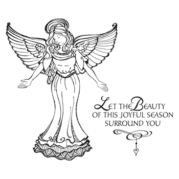 SBS-166 Spellbinders JOYFUL SEASON ANGEL Cling Stamps SBS-166