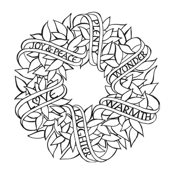 SBS-168 Spellbinders SENTIMENTS WREATH Cling Stamp