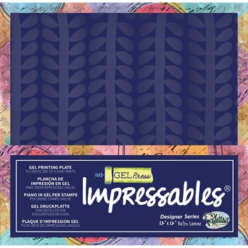 Gel Press IMPRESSABLES RETRO LEAVES Reusable Gel Printing Plate 10803slm01