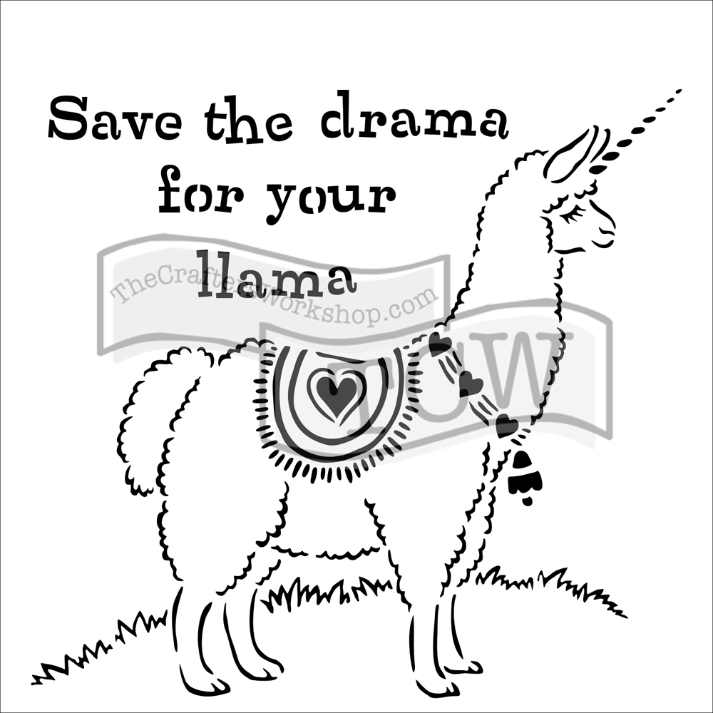 The Crafter's Workshop SMALL DRAMA LLAMA 6x6 Template tcw817s  zoom image