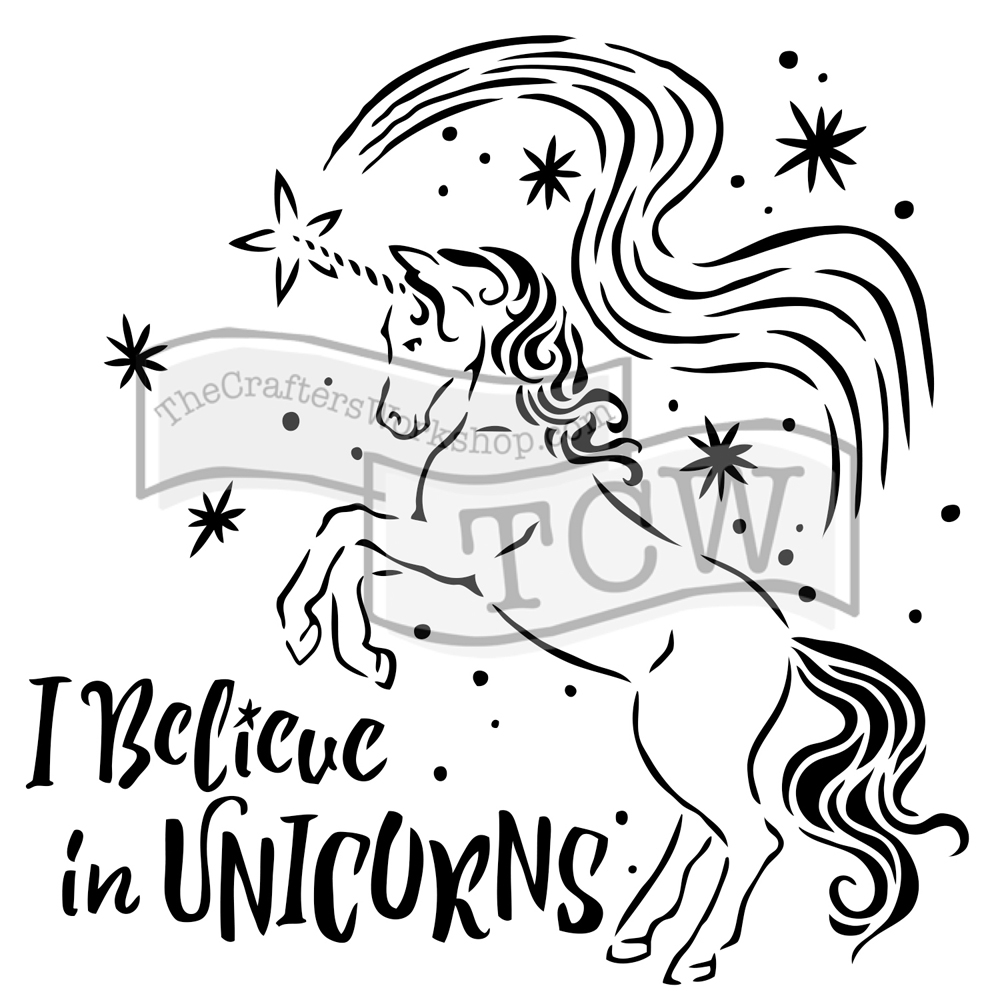 The Crafter's Workshop SMALL BELIEVE IN UNICORNS 6x6 Template tcw818s  zoom image