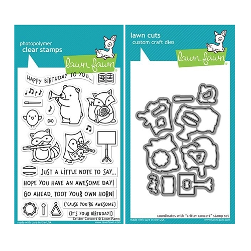 Lawn Fawn SET CRITTER CONCERT Clear Stamps and Dies MLFCC Preview Image