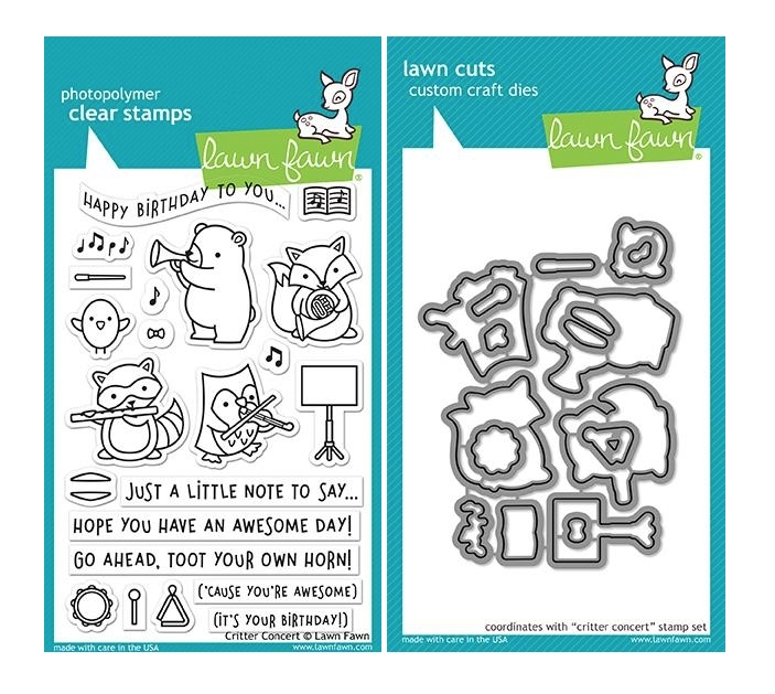 Lawn Fawn SET CRITTER CONCERT Clear Stamps and Dies MLFCC zoom image
