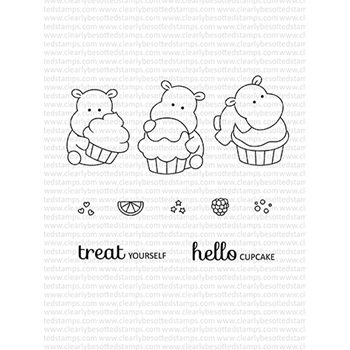 Clearly Besotted HELLO CUPCAKE Clear Stamps