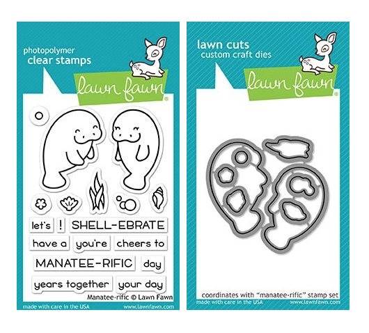 Lawn Fawn SET MANATEE-RIFFIC Clear Stamps and Dies MLFMT zoom image