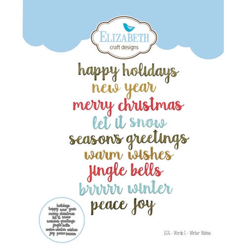 Elizabeth Crafts Designs Words 5 Winter Wishes Die Set
