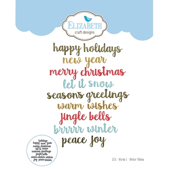 Elizabeth Craft Designs WORDS 5 WINTER WISHES Craft Dies 1576
