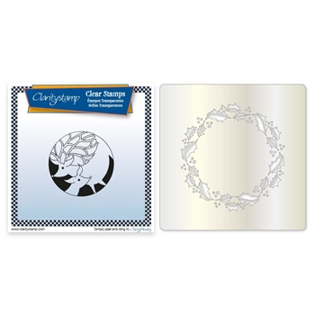 Claritystamp DEER AND HOLLY WREATH Stamp and Stencil Set clach20055a5