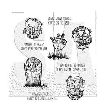 Tim Holtz Cling Rubber Stamps 2018 ZOMBIES CMS350