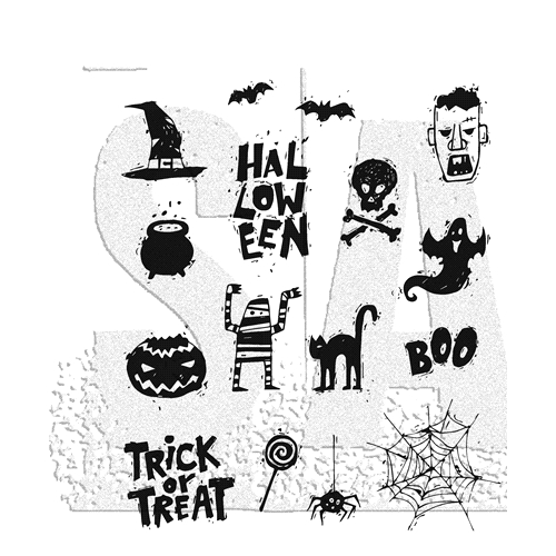 Tim Holtz Cling Rubber Stamps 2018 SPOOKY SCRIBBLES CMS349 Preview Image