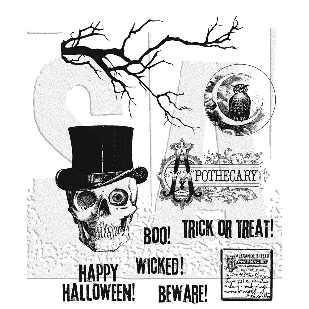 Tim Holtz Cling Rubber Stamps 2018 MR BONES CMS345 zoom image