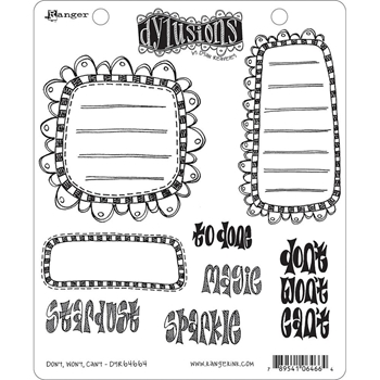 Dyan Reaveley DON'T WON'T CAN'T Stamp Set Dylusions Cling Unmounted Rubber DYR64664