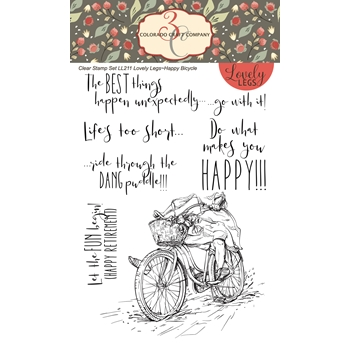 Colorado Craft Company HAPPY BICYCLE Clear Stamps LL211