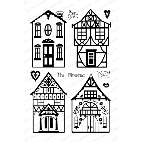 Pink Ink For Impression Obsession Clear Stamps GINGERBREAD GABLES CL894 Preview Image