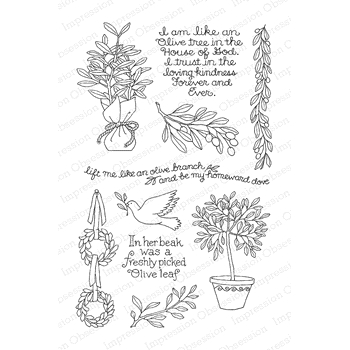 Pink Ink For Impression Obsession Clear Stamps OLIVE BRANCH CL892