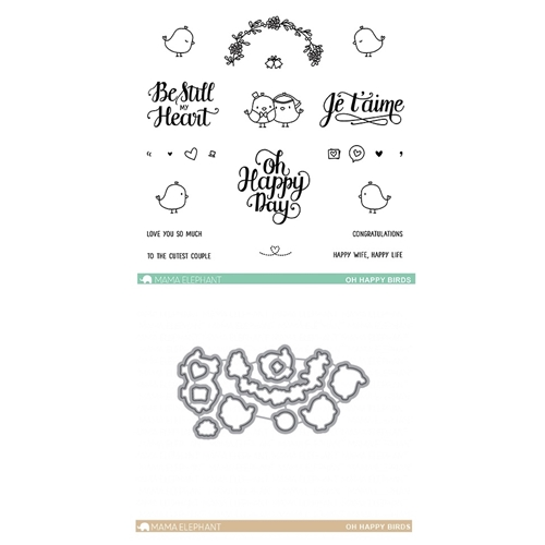 Mama Elephant Clear Stamp and Die MEPT501 Oh Happy Birds SET Preview Image