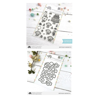 Mama Elephant Clear Stamp and Die MEPT507 Birthday Monkeys SET