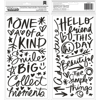 American Crafts Vicki Boutin ONE OF A KIND Field Notes Chipboard Phrase Stickers 346542