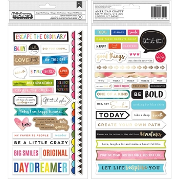 American Crafts Vicki Boutin ESCAPE THE ORDINARY Field Notes Gold Foil Chipboard Stickers 346541