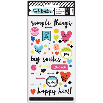 American Crafts Vicki Boutin FIELD NOTES Puffy Stickers Icons and Phrases 346540