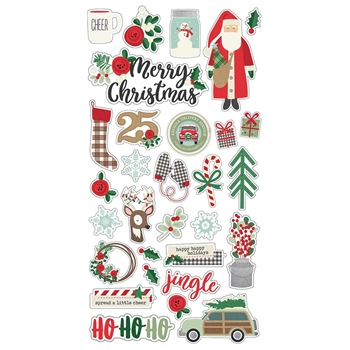 Simple Stories MERRY AND BRIGHT 6 x 12 Chipboard Stickers 10301
