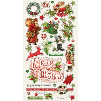 Simple Stories VINTAGE CHRISTMAS 6 x 12 Chipboard Stickers 10347*