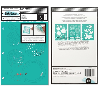 American Crafts Vicki Boutin INK SPILL Field Notes Mixed Media Stencils 346545