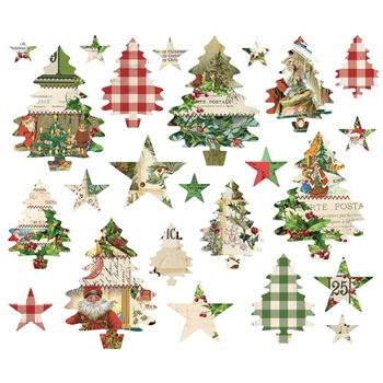 Simple Stories VINTAGE CHRISTMAS Trees And Stars Ephemera 10349
