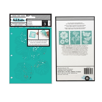 American Crafts Vicki Boutin FLUTTER Field Notes Mixed Media Stencils 346546